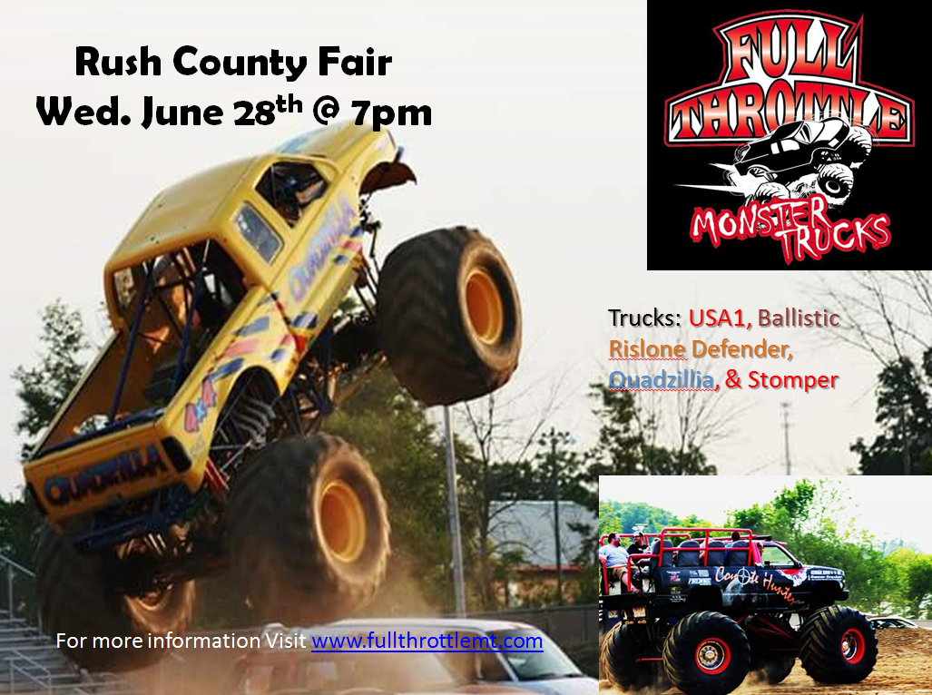 Indiana rush county - Indiana Monster Truck Week Kicks Off On Thursday June 22nd At The Marion County Fair Grounds In Indianapolis The Trucks Will Head South For A Saturday
